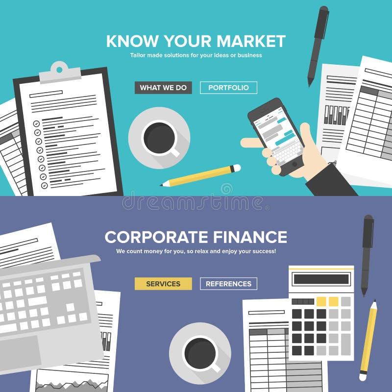 Usługa biznesowe i badania rynku mieszkania sztandary royalty ilustracja