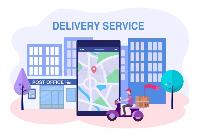 Usługa dostarczania poczty, pocztowy pracownik motocykla dostarcza paczki i korespondencję ilustracja wektor