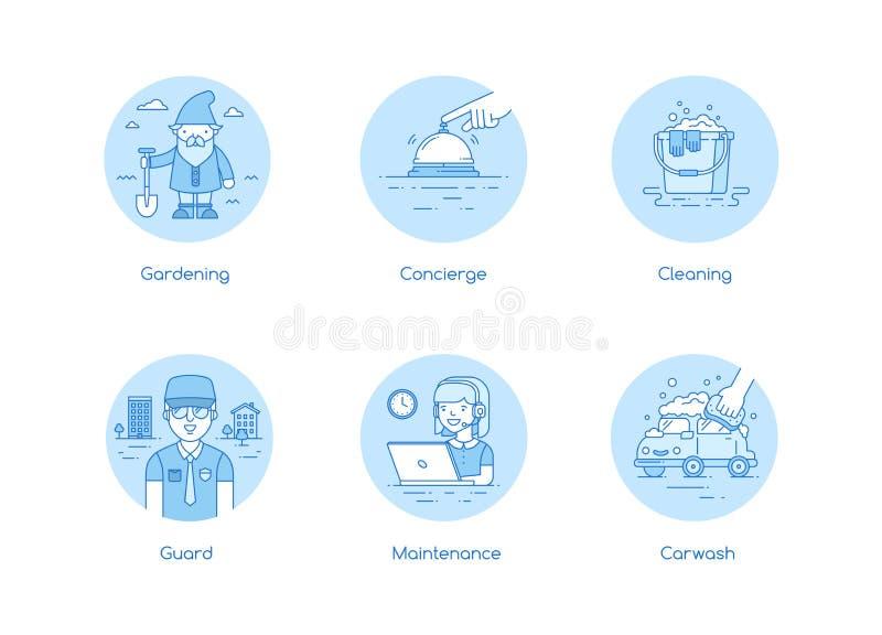 Usługa ikona ustawiająca w lineart stylu ilustracji