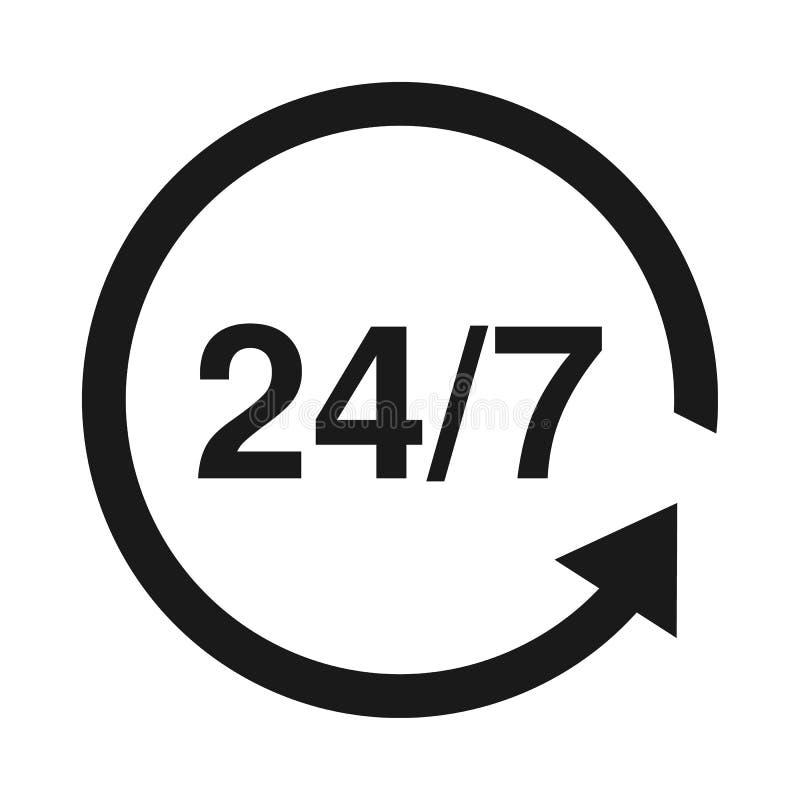24 7 usługa otwartej 24h godziny dzień i 7 dni tydzień Mieszkanie odosobniona wektorowa ilustracja w czerni royalty ilustracja
