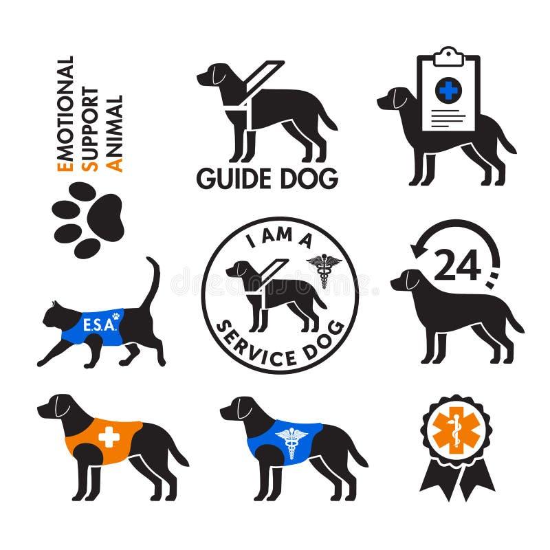 Usługa psy i emocjonalni poparć zwierząt emblematy royalty ilustracja