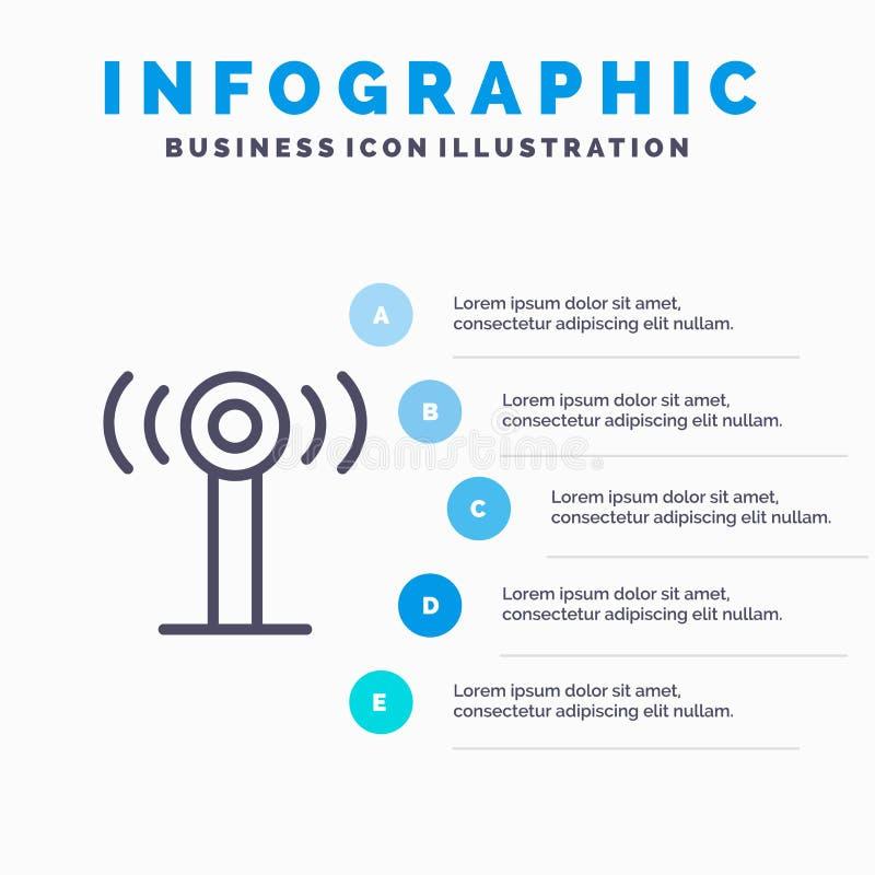 Usługa, sygnał, Wifi Kreskowa ikona z 5 kroków prezentacji infographics tłem ilustracji