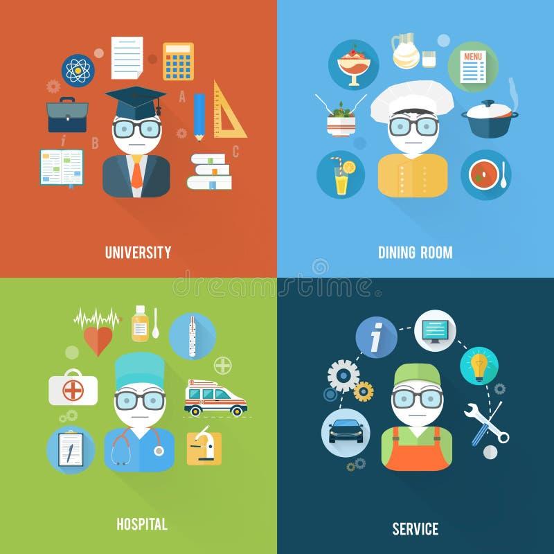 Usługa, uniwersytet, szpital i jadalnia, ilustracji