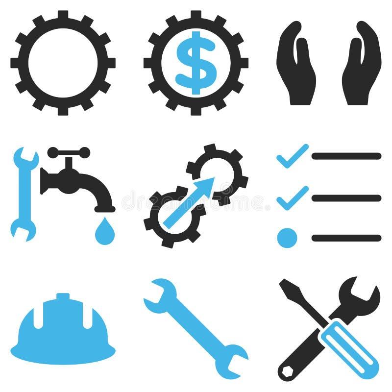 Usługa Wytłacza wzory Wektorowego ikona set ilustracja wektor