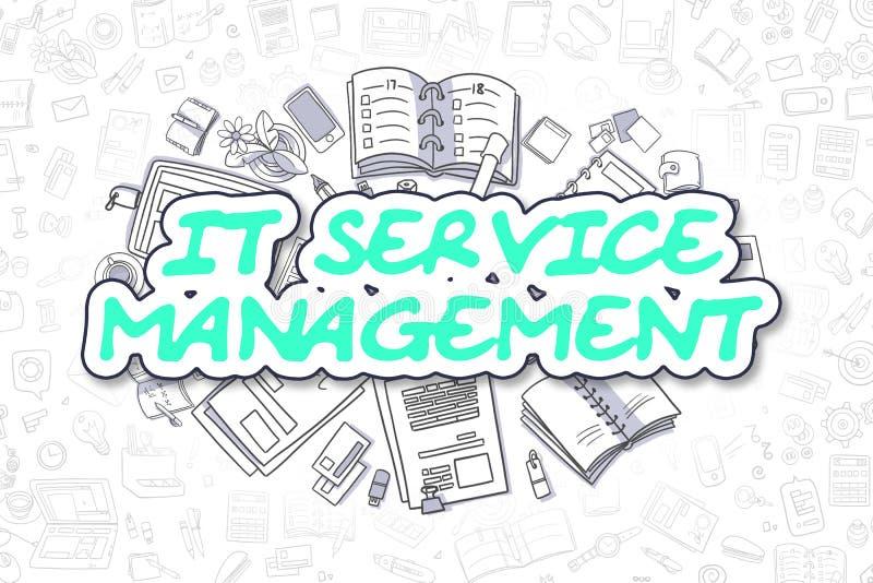 IT usługa zarządzanie - Doodle Zielony tekst pojęcia prowadzenia domu posiadanie klucza złoty sięgający niebo ilustracja wektor