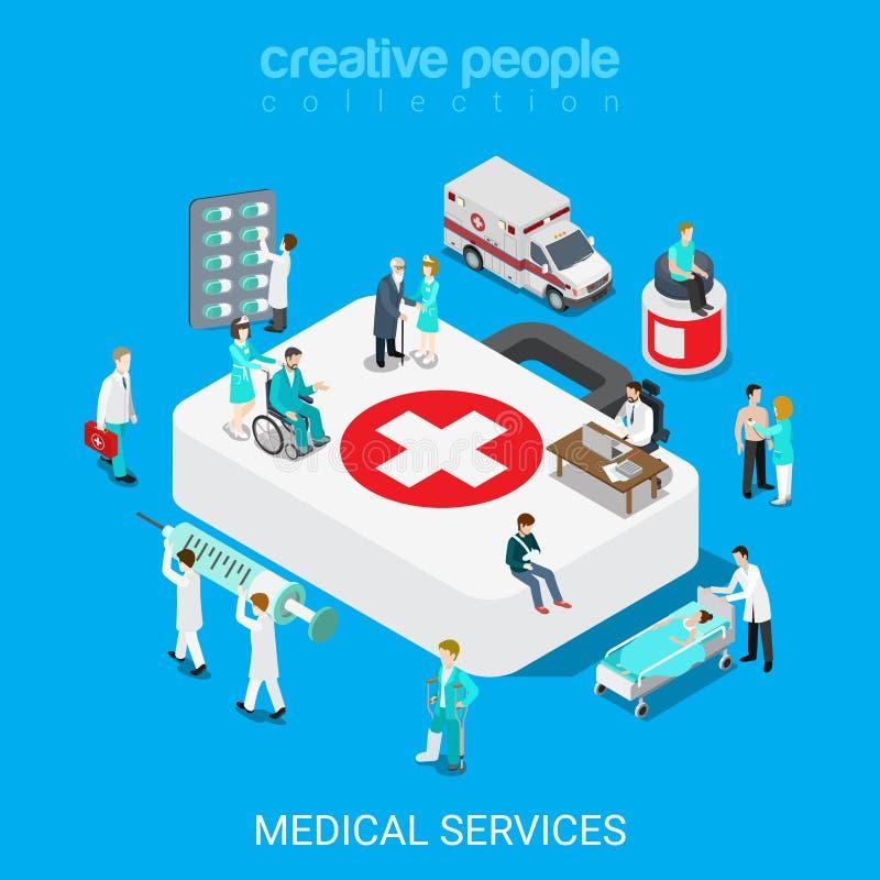 Usługa zdrowotnej lekarki pielęgniarki pierwszej pomocy mieszkania 3d isometric wektor ilustracji