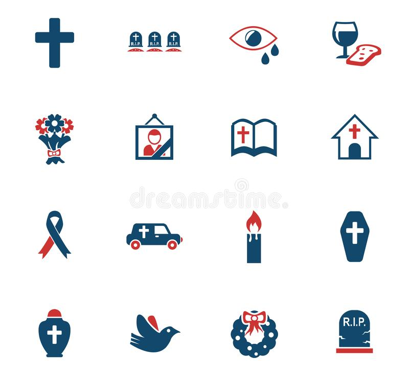 Usługi Pogrzebowe ikony set ilustracji