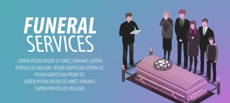 Usługi pogrzebowe sztandar Pogrzeb, cmentarz, cmentarz, rozprucie, śmiertelny pojęcie również zwrócić corel ilustracji wektora ilustracja wektor