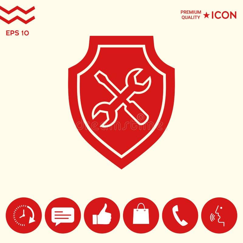 Usługowa ikona - osłona z śrubokrętem i wyrwaniem royalty ilustracja