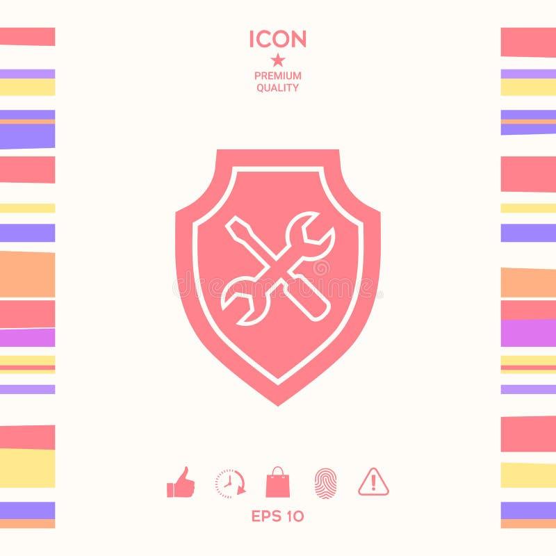 Usługowa ikona - osłona z śrubokrętem i wyrwaniem ilustracji