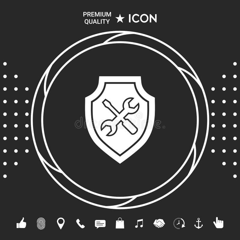 Usługowa ikona - osłona z śrubokrętem i wyrwaniem Graficzni elementy dla twój designt ilustracja wektor