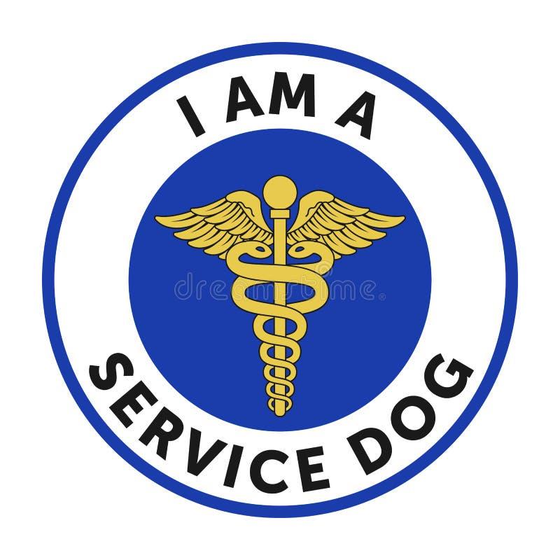 Usługowa psia odznaka, majcher ilustracji