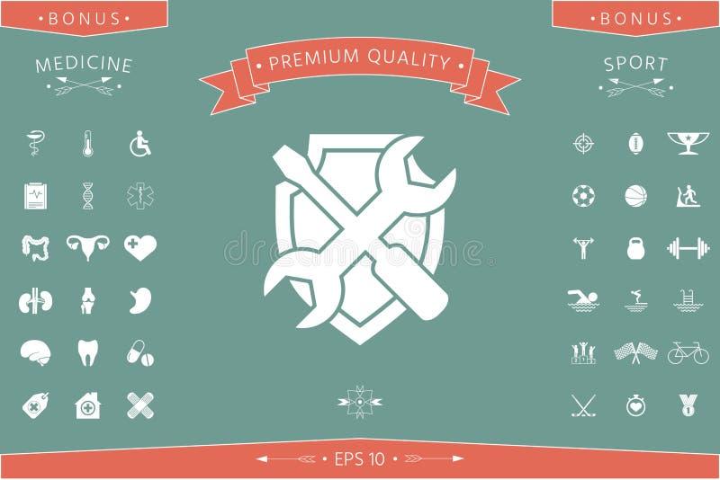Usługowa symbol ikona - osłona z śrubokrętem i wyrwaniem ilustracji