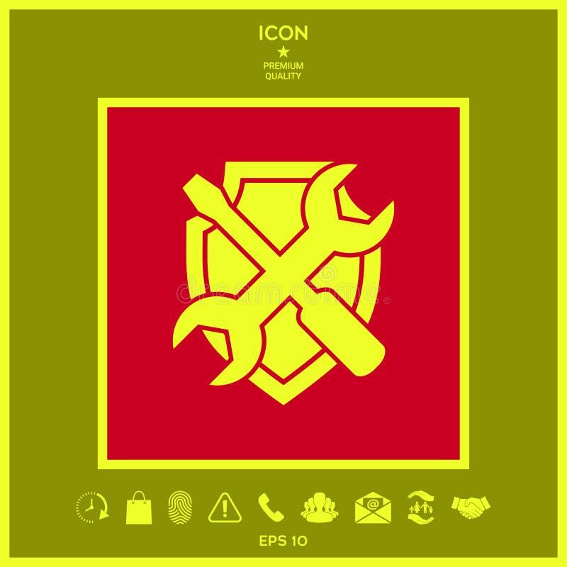 Usługowa symbol ikona - osłona z śrubokrętem i wyrwaniem ilustracja wektor