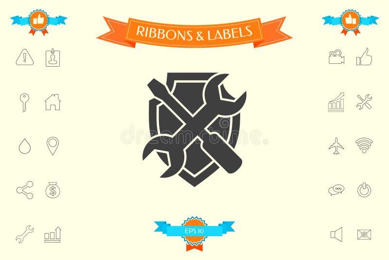 Usługowa symbol ikona - osłona z śrubokrętem i wyrwaniem royalty ilustracja