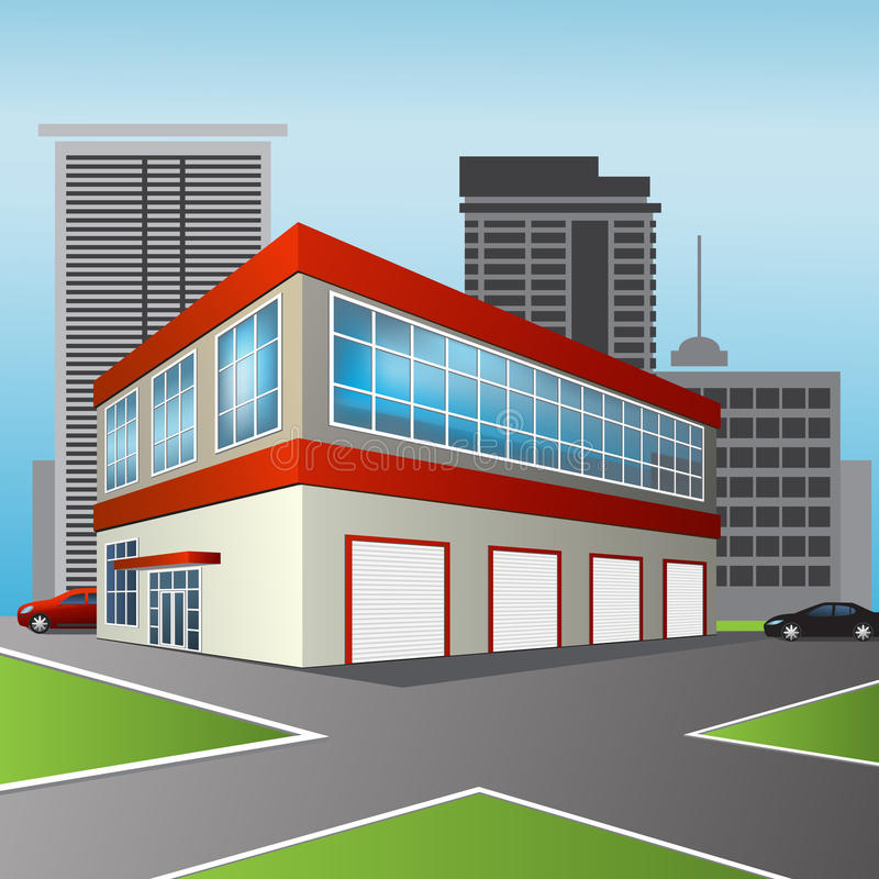 Usługowy centrum i biuro w perspektywie ilustracja wektor