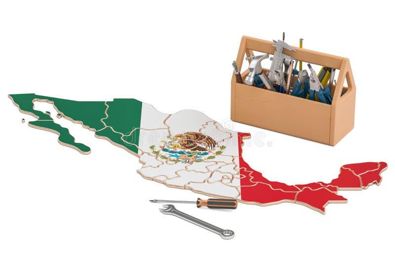 Usługuje i naprawa w Meksyk pojęciu, 3D royalty ilustracja