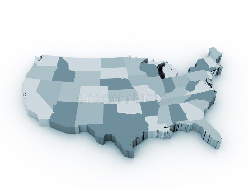 US 3D State kartlägger stock illustrationer