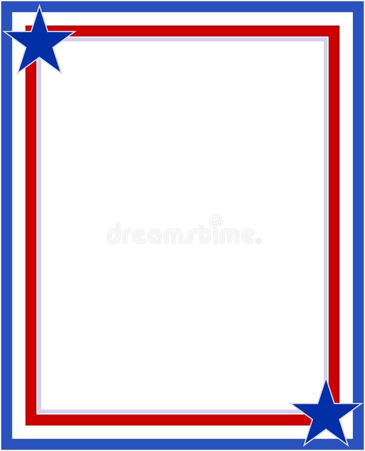 Red blue with stars abstract American flag border frame. vector illustration