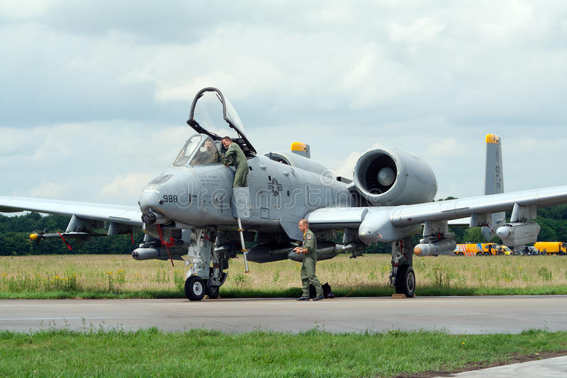 US Air Force A-10. VOLKEL, NETHERLANDS - JUNE 16: USAF A-10A THUNDERBOLT on display Royal Netherlands Air Force Days June 16, 2007 in Volkel, Netherlands royalty free stock images