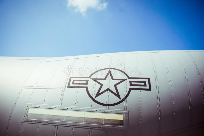 US Air Force. Details of an US heavy transport military aircraft stock image