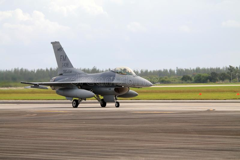 US Military Fighter Plane At Florida Air Force Base Stock