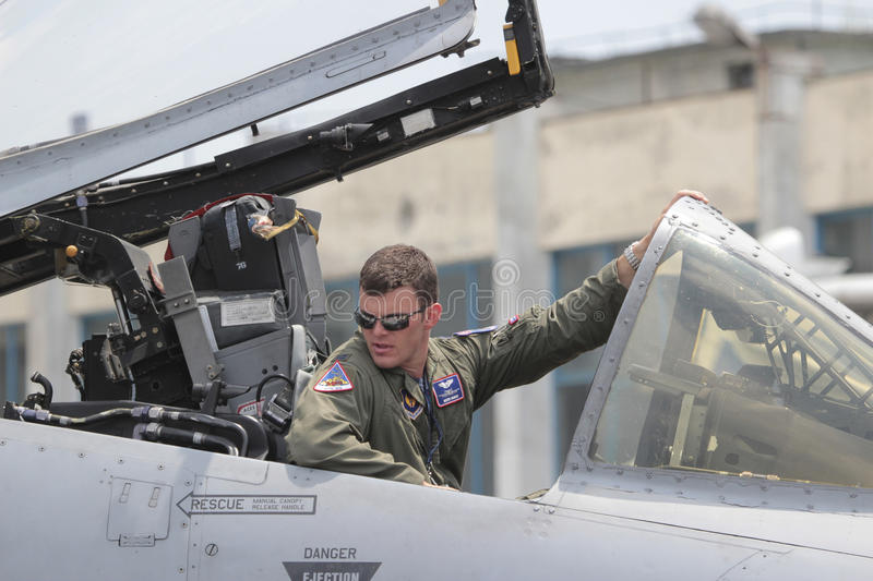 US Air Force fighter pilot. 20 June 2015. US Air Force fighter pilot displaying the A10 Thunderbolt II aircraft at the 2015 edition of the Bucharest stock photos