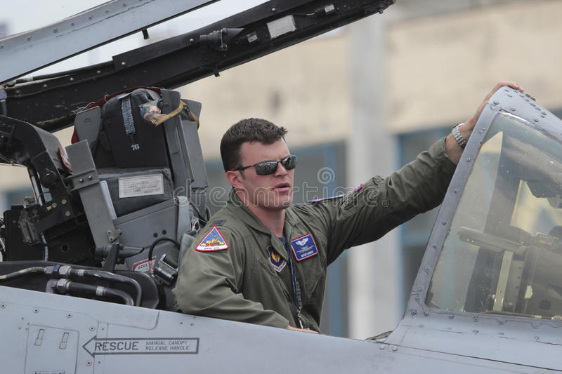 US Air Force fighter pilot. 20 June 2015. US Air Force fighter pilot displaying the A10 Thunderbolt II aircraft at the 2015 edition of the Bucharest stock image