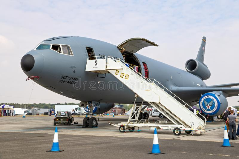 US Air Force KC-10A Extender tanker aircraft. FAIRFORD, UK - JUL 13, 2018: US Air Force KC-10A Extender tanker aircraft on display at RAF Fairford airbase kc10 royalty free stock photography