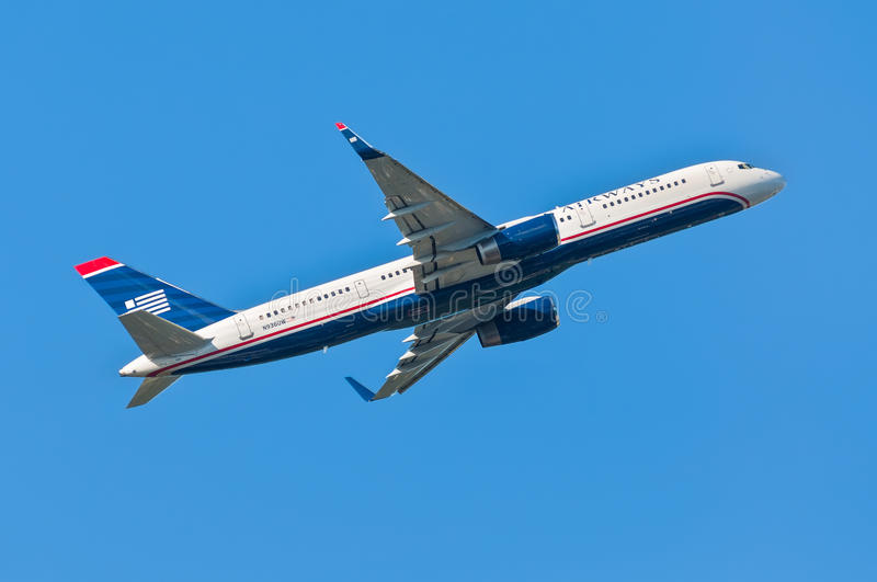 US Airways Boeing 757-200 takes off from Cyril E. King Airport, stock images