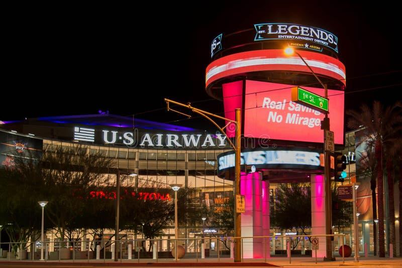 US Airways Center at night in Phoenix, AZ. US Airways Center at night in Phoenix, Arizona royalty free stock images