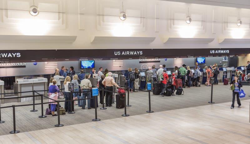 Us Airways etikettera område royaltyfri fotografi
