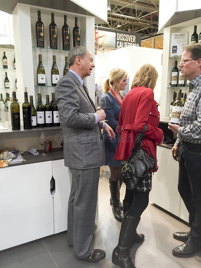US Ambassador of Germany on Wine Fair. U.S. Ambassador John B. Emerson visits California Wines on Pro Wein 2015 International Trade Fair Wine in Duesseldorf royalty free stock photo