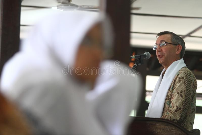Us ambassador for indonesia. Scot Marciel, when visiting Al Muayyad islamic school in Solo, central java, indonesia royalty free stock photography