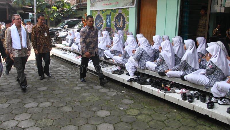 Us ambassador for indonesia. Scot Marciel, when visiting Al Muayyad islamic school in Solo, central java, indonesia royalty free stock photos
