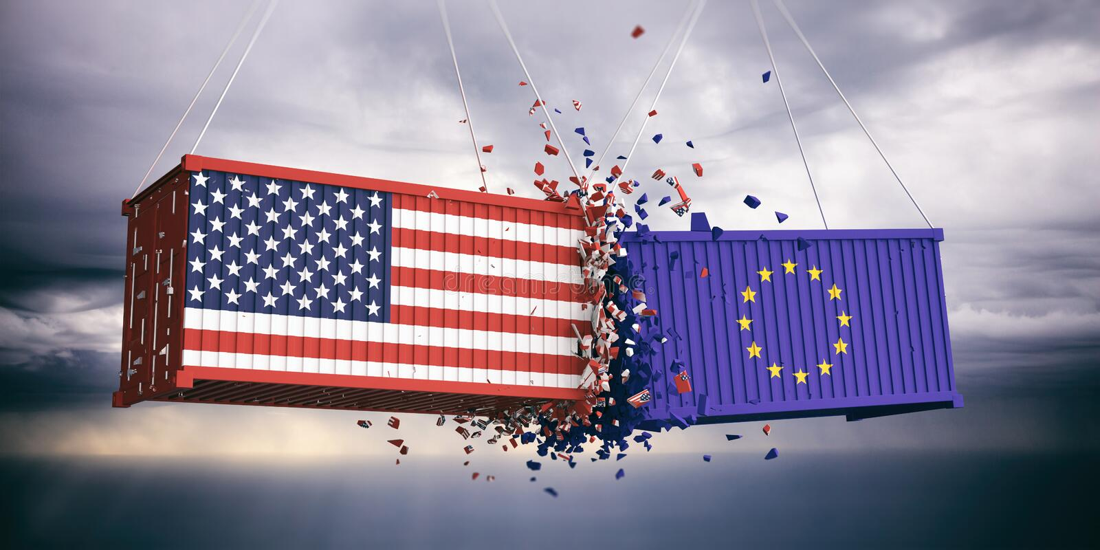 US of America and European Union flags crashed containers on blue cloudy sky background. 3d illustration. USA and EU trade. US of America and European Union royalty free illustration