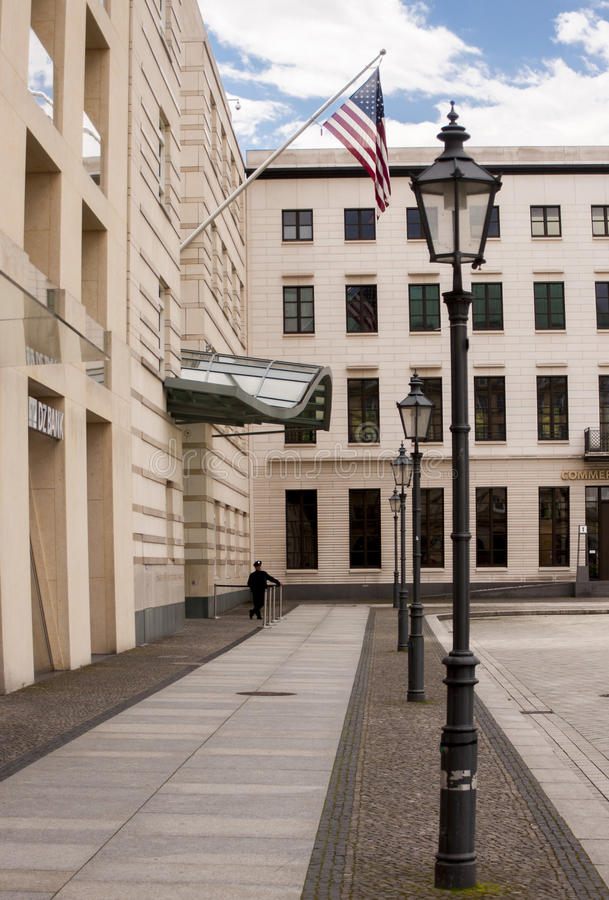 The US American Embassy in Berlin. BERLIN, GERMANY - MAY 30, 2014:The Embassy of the United States in Berlin, maintains diplomatic relations and represents royalty free stock photos