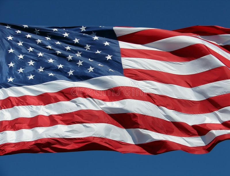 US/American Flag- Old Glory. A US flag flying in Seattle, WA royalty free stock photos
