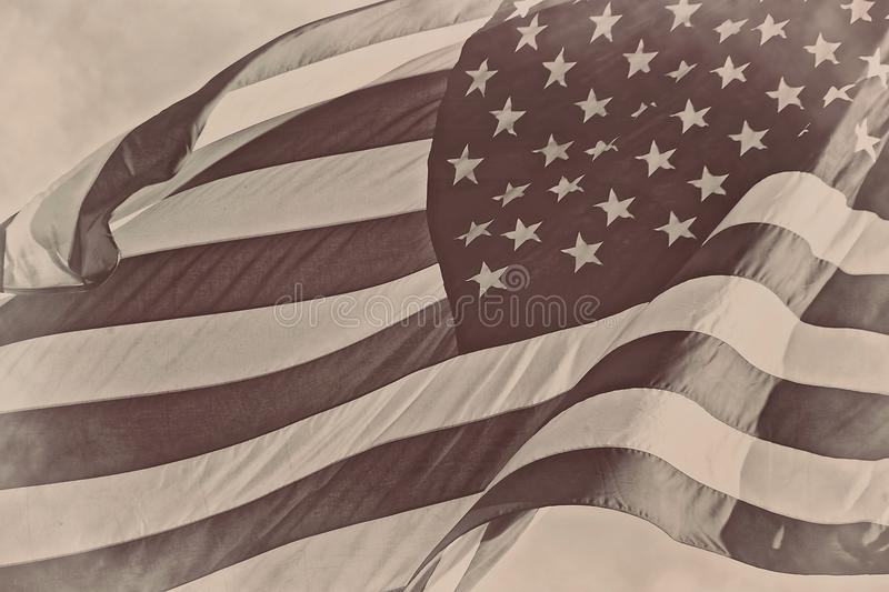 US American patriotic flag sepia retro vintage background. United Stated US American patriotic flag sepia retro vintage background royalty free stock photo
