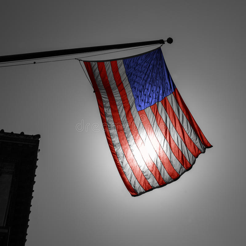 Download US American Symbol Flag Over Black And White City Stock Image - Image: 33849337