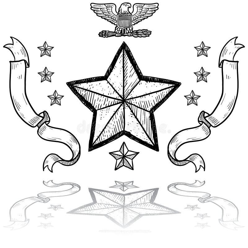 Us-armégradbeteckning Med Kranen Royaltyfri Fotografi