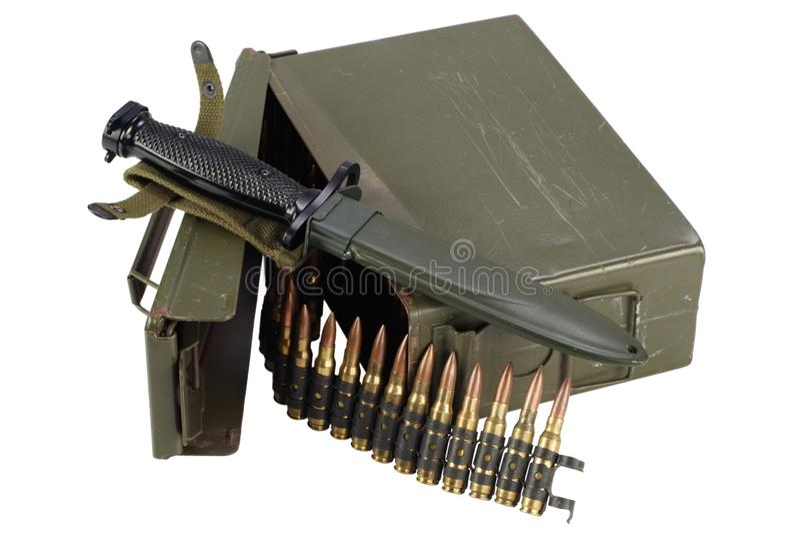 US Army Ammo Box with ammunition belt and bayonet. Isolated on white background stock photos