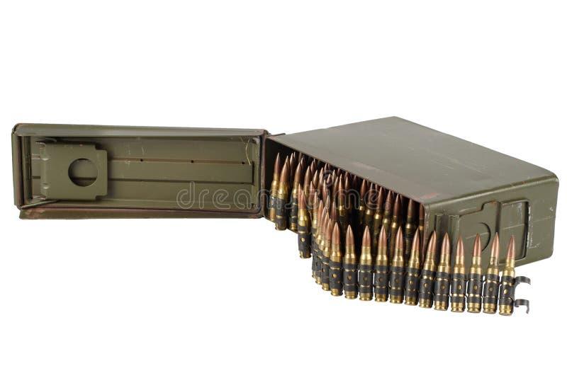 US Army Ammo Box with ammunition belt and bayonet. Isolated on white background stock images