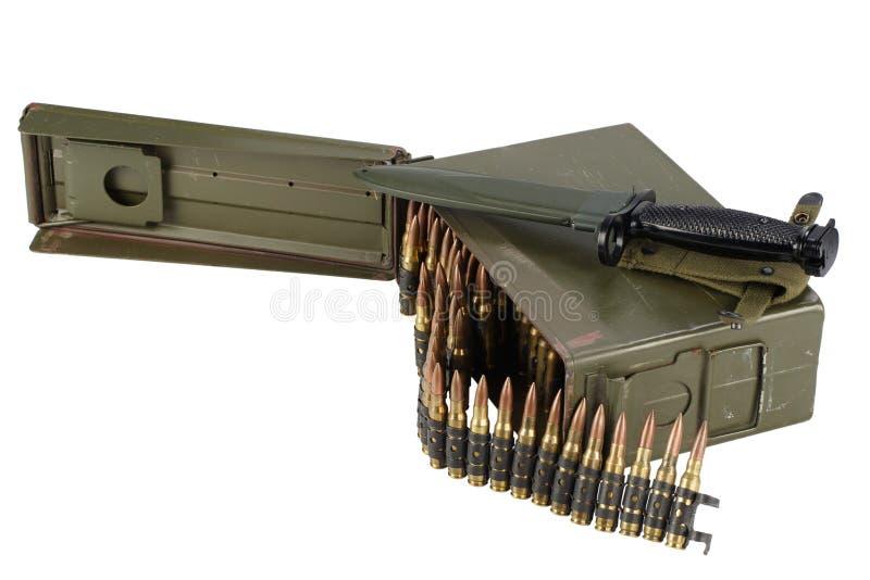 US Army Ammo Box with ammunition belt and bayonet. Isolated on white background stock photo