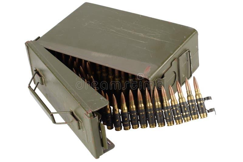 US Army Ammo Box with ammunition belt and bayonet. Isolated on white background royalty free stock images