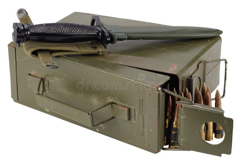 US Army Ammo Box with ammunition belt and bayonet. Isolated on white background stock photography