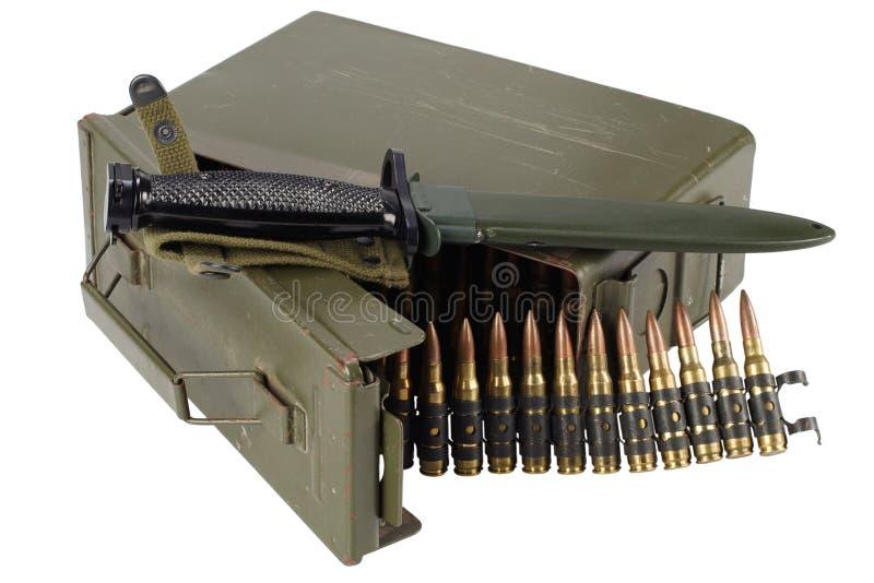 US Army Ammo Box with ammunition belt and bayonet. Isolated on white background royalty free stock photography