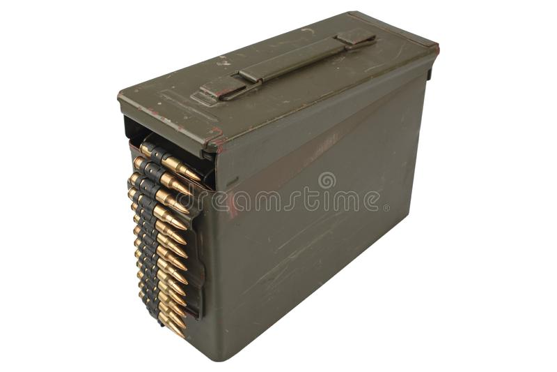 US Army Ammo Box with ammunition belt. Isolated on white background stock photo