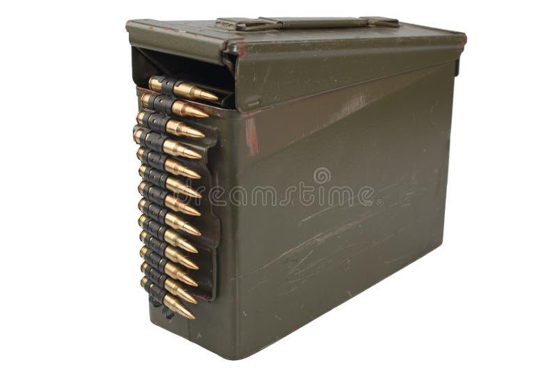 US Army Ammo Box with ammunition belt. Isolated on white background royalty free stock image