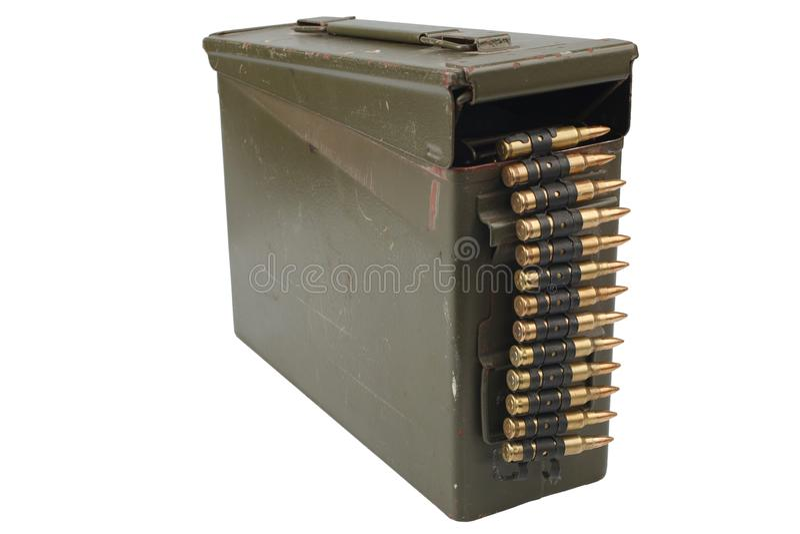 US Army Ammo Box with ammunition belt. Isolated on white background royalty free stock photo